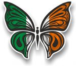 Ornate Butterfly Wings Design With Ireland Irish Flag Motif Vinyl Car Sticker 100x85mm